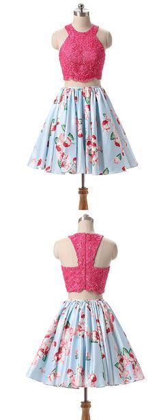 pink lace short prom dress, pink cute homecoming dress