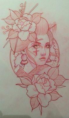 Только эскизы тату / Татуировка / Sketch tattoo Tattoo Sketches, Tattoo Drawings, Art Drawings, Japanese Tattoo Art, Japanese Art, Japanese Beauty, Twins Tattoo, Body Art Tattoos, Girl Tattoos