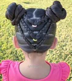 """""""✨""""You are never too important to be nice to people. Split braided ponies into pigtail buns …"""" Cute Little Girl Hairstyles, Girls Natural Hairstyles, Baby Girl Hairstyles, Kids Braided Hairstyles, Trendy Hairstyles, Hairstyles Pictures, Hairdos, Short Haircuts, Pigtail Buns"""