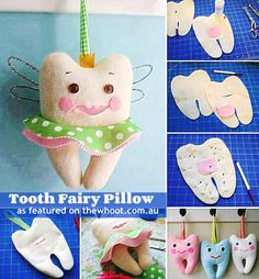 How To Make Cute Tooth Fairy Pillow (How To Instructions Diy Arts And Crafts, Felt Crafts, Diy Crafts For Kids, Fabric Crafts, Sewing Crafts, Kids Diy, Easy Crafts, Tooth Pillow, Tooth Fairy Pillow