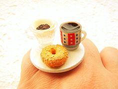 Your place to buy and sell all things handmade Breakfast Ring, Coffee Cups, Tea Cups, Japan Crafts, Crafts With Pictures, Mini Foods, Unique Recipes, Brunch, Miniature Food