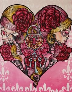 """Day of the dead Tattoo Art Stretched Canvas Print, """"Mi Corazon"""" 16 by 20 Lowbrow Tattoo home decor Sugar Skulls"""