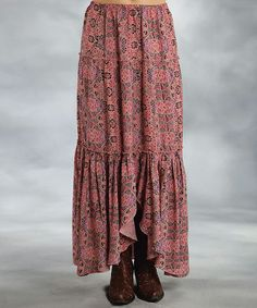 Love this Pink Floral Tiered Maxi Skirt - Women by Roper on #zulily! #zulilyfinds another easy to make item