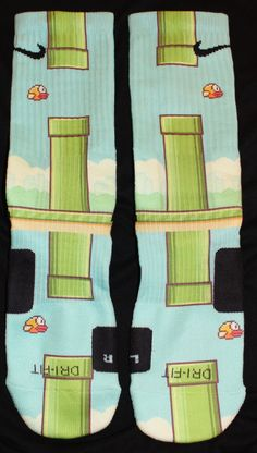 FlappyBird Custom Nike Elite Socks Parody by LuxuryElites Funky Socks, Crazy Socks, My Socks, Cool Socks, Nike Elite Socks, Nike Socks, Sport Socks, Nike Elites, Nike Outfits