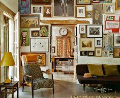 linenforsummertweedforwinter:  tamsinjohnson:  A cluttered wall, via Elle Decor  Fill a room.