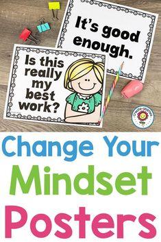 Growth Mindset Posters Change Your Words Change Your Mindset 5th Grade Classroom, Kindergarten Classroom, Classroom Organization, Classroom Management, Growth Mindset Posters, Negative Self Talk, Change Your Mindset, You Changed, How To Find Out