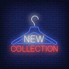 Clothes hanger with lettering neon sign. Logo Online Shop, Shop Logo, Instagram Frame, Instagram Logo, Nixie Tube, Fashion Logo Design, Clothing Logo Design, Neon Design, Shopping Quotes