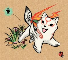 Celebration for the release of Okami WII edition! I've seen many people upload their new Okami fanart, and I have the image of a chibi ammy on my mind f. Chibi Okami with Issun Nintendo Ds, Kawaii, Chibi, V Force, Illustration Manga, Japanese Mythology, Amaterasu, Video Game Art, Video Games
