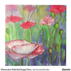 Watercolor Pink Red Poppy Flowers Tile