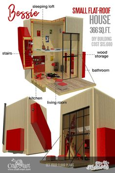Granny pods with loft Bessie is a mini house that is continuing the concept of a clean-form interior tried on a greater scale by Renzo Piano, the architect of the Centre Pompidou in Paris. Tiny House Loft, Tiny House Trailer, Tiny Houses, Micro House Plans, House Floor Plans, Cool Woodworking Projects, Woodworking Plans, Woodworking Courses, Woodworking Chisels