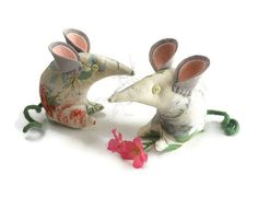 Country  Mouse in Vintage style fabric  Roses in by WittyDawnUK