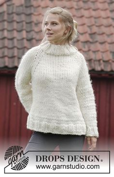 Elise - Knitted jumper with raglan, high collar and split in the sides, worked top down. Sizes S - XXXL. The piece is worked in 1 strand DROPS Polaris or 4 strands Air. Free knitted pattern DROPS 184-8