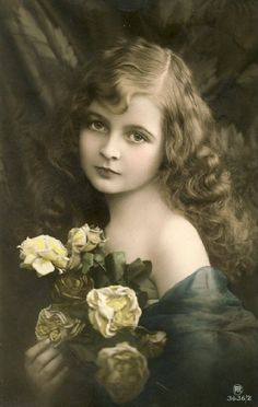 Vintage Postcards Beautiful young girl with flowers...                                                                                                                                                                                 More