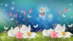 Grafika, Kwiaty, Motyle