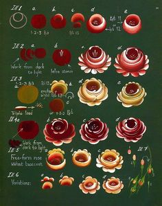 An excellent step sheet of roses by Enid Hoessinger (Australia) for her multi-loading  technique.