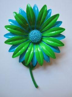 Vintage Enamel Flower Pin  Retro Brooch in Blue by handknitpalette, $26.99