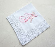 Cotton and Venice Lace Handkerchief, Monogrammed Embroidered Handkerchief, Personalized Bridal Wedding Handkerchief - FIND MORE HOME & BRIDAL LINENS AT DonovanDesignLinens.com