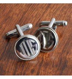 Personalized Engraved Silver Round Beaded Monogram Cufflinks, it's the details that make the man. Distinguished with subtle beading around the edge, personalize these silver accessories by engraving them with a stellar monogram. Personalised Gifts For Him, Engraved Gifts, Personalized Wedding, Sterling Silver Cufflinks, Silver Accessories, Bridal Accessories, Silver Rounds, Nike Lebron, Groomsman Gifts