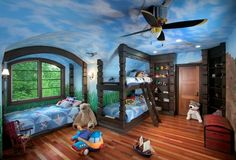 What do you mean small kids! Amazing Blue Sky Wall Murals Painting and Bunk Beds with Stairs in Small Kids Bedroom Design Ideas Kids Bedroom Designs, Kids Room Design, Nursery Room, Boy Room, Child's Room, Bunk Beds Built In, Twin Beds, Ceiling Murals, Bedroom Ceiling