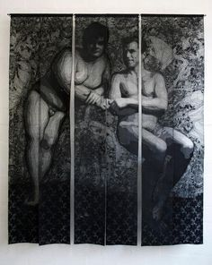Pierre Fouché Sculptures Pierre Fouché. Fred and Denis. 2011. Domestic sewing machine embroidered lace, tulle, chiffon & bull denim in six panels. (Based on a photograph by Jérôme Le Goff). 1660 x 1380mm. Private Collection