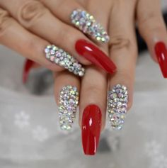 Red Sparkle Nails, Red And Silver Nails, Bling Acrylic Nails, Best Acrylic Nails, Rhinestone Nails, Bling Nails, Glue On Nails, Swag Nails, Red Nails With Glitter