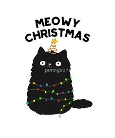 """Grumpy Christmas Cat"" Greeting Cards by cartoonbeing Christmas Animals, Christmas Cats, Christmas Humor, Christmas Lights, Xmas, Crazy Cat Lady, Crazy Cats, Funny Food Puns, Cat Puns"