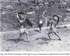 Vintage     Delphi - 1930 AD.  Greece.   Reenacting Athenian Hoplites(bearing muscle anatomical cuirasses) . Delfic celebrations (1927-1930 AD)