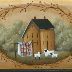 Browse unique items from raggedyjan on Etsy, a global marketplace of handmade, vintage and creative goods. Primitive Painting, Primitive Folk Art, Primitive Crafts, Tole Painting, Watercolor Paintings, Sheep Art, Summer Painting, Country Paintings, Country Crafts