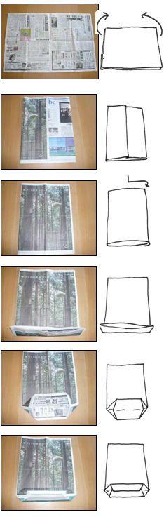 新聞紙マイバックの作り方説明図