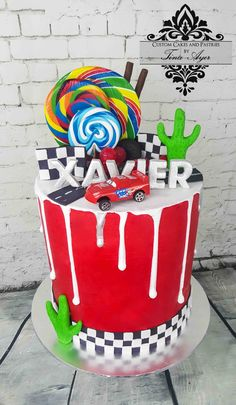 Drip cake lightning Mcqeen Cars by Tina Ayer Melbourne www.cutomcakesandpastriesbytinaayer.com.au