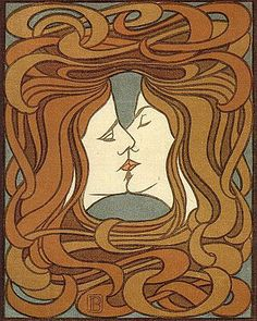 1970S Wallpaper Patterns | This ambiguous, possibly androgynous, Peter Behrens piece, The Kiss ...