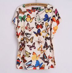 Junior/'s Neon Stained Glass Butterfly L//S Off Shoulder T Shirt Wildlife Animal