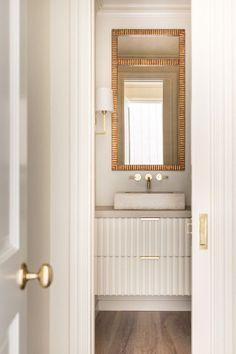 Home Decor Bathroom Simple powder bath with gold accents.Home Decor Bathroom Simple powder bath with gold accents Beautiful Bathrooms, Modern Bathroom, Small Bathroom, Vanity Bathroom, Bathroom Plumbing, Closet Vanity, Neutral Bathroom, Bathroom Ideas, Bathroom Marble