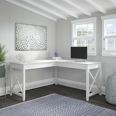 Bush Furniture Key West L Shaped Desk in Pure White Oak - its practical design and easy going style, the Bush Furniture Key West L Shaped Desk offers an ideal workspace solution for home offices. Save floor space in compact areas b Home Office Design, Home Office Decor, Home Decor, Office Ideas, Sunroom Office, Dining Room Office, Kids Office, Office Designs, Desk Ideas