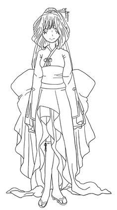 anime kimono girl line art sketch coloring page