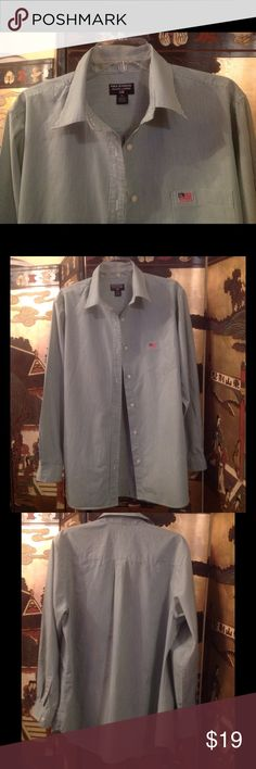 Ralph Lauren, Polo Jeans CO. stripped shirt Beautiful women button down, stripped (light blue and white) shirt with flag on pocket. ❤️ 100% cotton. Please note that the shirt is used but in excellent condition! Very light cotton! ❤️ ☔️☀️ Awesome with jeans or white summer pants! ❤️ Ralph Lauren Tops Button Down Shirts