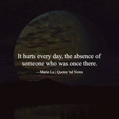 It hurts every day the absence of someone who was once there. Marie Lu via (http://ift.tt/2bW5don)