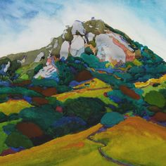 robin purcell california watercolors in the plein air tradition: San Luis Obispo Hill Paintings