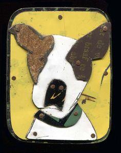 metal collage (jane wells harrison) Fofum Dog Brooch by fofum on Etsy