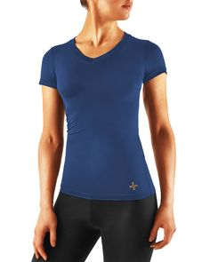 Tommie Copper Women's Recovery Compression Short Sleeve V-Neck Shirt Cobalt Blue
