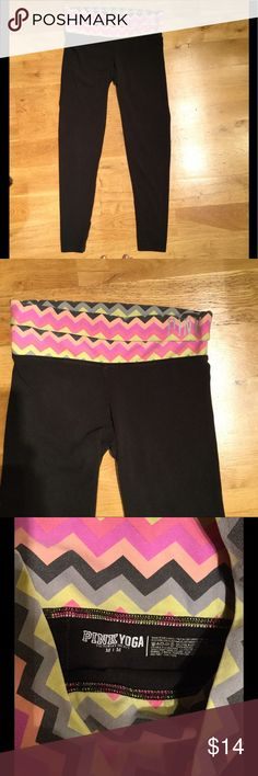 Medium PINK Yoga Leggings These leggings from PINK are so comfortable. They look great with a matching loose tee. They are fitting all the way down. The band at the top can be folded over however you please. Everything is stored in a smoke free environment ❤️ PINK Pants Leggings