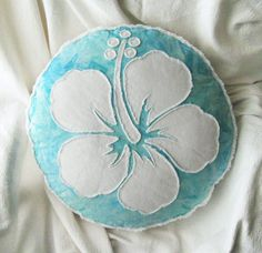 Hibiscus flower pillow aqua batik and white denim by BeachRebel, $47.50