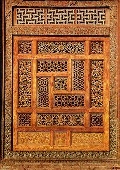 A wooden screen in the Mausoleum of Rukn-i-'Alam, Multan; an illustration in Islamic Architecture of Pakistan by Ahmad Nabi Khan #pakistan