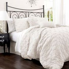Anabel Comforter Set in Ivory. Also comes in peach, purple, gray and taupe.