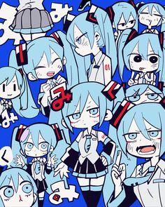 Hatsune Miku So many hatsune mikus Vocaloid, Manga Illustration, Illustrations, Chica Anime Manga, Anime Art, Manga Girl, Anime Girls, Character Art, Character Design