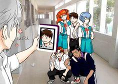 Kaworu Nagisa, Asuka Langley, Shinji Ikari, Rei Ayanami, Kensuke Aida, Toji Suzuhara, Neon Genesis Evangelion