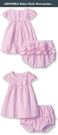 ABSORBA Baby-Girls Seersucker Woven Dress Set, Pink, 0-3 Months. A newborn/infant girls seersucker dress set. The set includes a fully woven pink seersucker top with big dimensional bow detail on the front. Comes with a diaper cover in newborn and a short in infant with ruffles along the back.