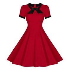 Vintage Round Neck Short Sleeve Button Embellished Women's Dress (RED,XL) in Vintage Dresses | DressLily.com