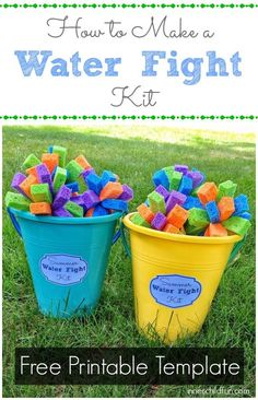 Kids will love dunking the sponge bombs into buckets of water to throw at each other, and the sponge bomb can be used over and over again with a minimal amount of water. Cut the sponge into strips, and then tie them up in groups of 4 with a rubber band.