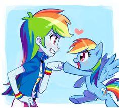 Rainbow Dash fist bumping her human self!
